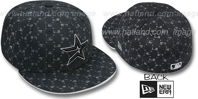 Astros 'MLB FLOCKING' Black Fitted Hat by New Era : pictured without stickers that these products are shipped with