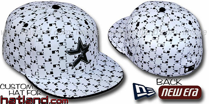 Astros 'MLB FLOCKING' White-Black Fitted Hat by New Era : pictured without stickers that these products are shipped with