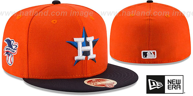 Astros 'MLB WOOL-STANDARD' Orange-Navy Fitted Hat by New Era : pictured without stickers that these products are shipped with