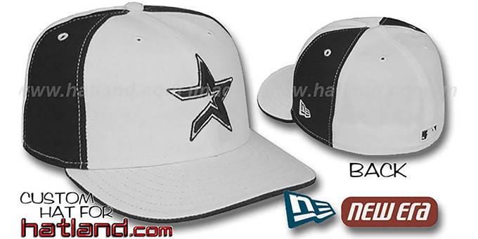Astros 'PINWHEEL' White-Black Fitted Hat by New Era : pictured without stickers that these products are shipped with