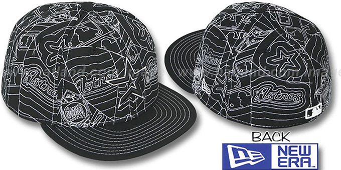 Astros 'PUFFY REMIX' Black-White Fitted Hat by New Era : pictured without stickers that these products are shipped with