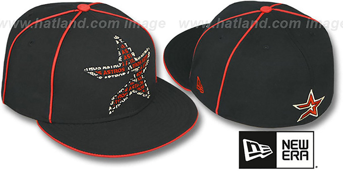 Astros 'REPEAT BIG-ONE' Black Fitted Hat by New Era : pictured without stickers that these products are shipped with