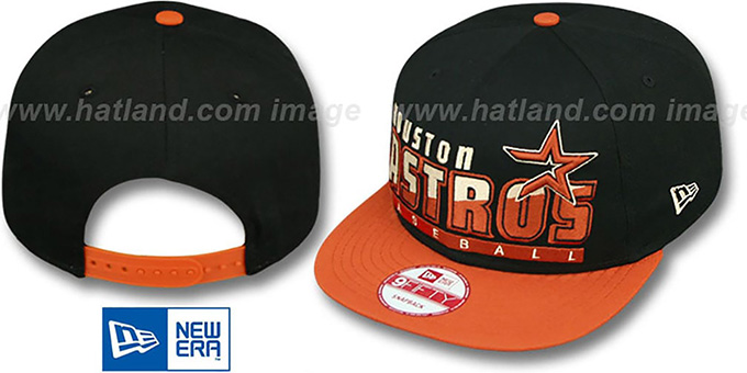 Astros 'SLICE-N-DICE SNAPBACK' Black-Brick Hat by New Era : pictured without stickers that these products are shipped with