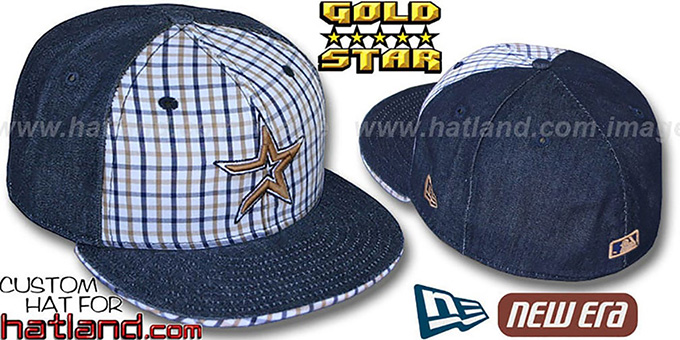 Astros 'SPANKY' Plaid-Navy Denim Fitted Hat by New Era : pictured without stickers that these products are shipped with