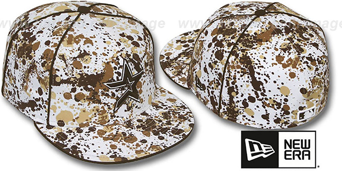 Astros 'SPLATTER' White-Brown Fitted Hat by New Era : pictured without stickers that these products are shipped with