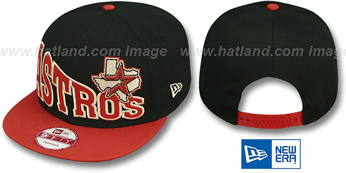 Astros 'STOKED SNAPBACK' Black-Brick Hat by New Era : pictured without stickers that these products are shipped with