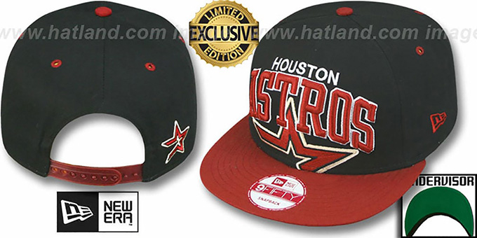 Astros 'SUPER-LOGO ARCH SNAPBACK' Black-Brick Hat by New Era : pictured without stickers that these products are shipped with