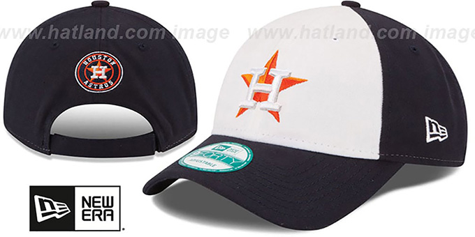 Astros 'THE-LEAGUE STRAPBACK' White-Navy Hat by New Era : pictured without stickers that these products are shipped with