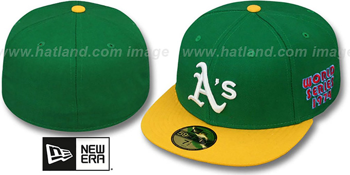 Athletics 1974 'WORLD SERIES CHAMPS' GAME Hat by New Era : pictured without stickers that these products are shipped with
