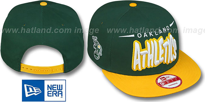 Athletics '2T DOPETASTIC SNAPBACK' Green-Gold Hat by New Era : pictured without stickers that these products are shipped with