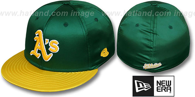 Athletics '2T SATIN CLASSIC' Green-Gold Fitted Hat by New Era : pictured without stickers that these products are shipped with