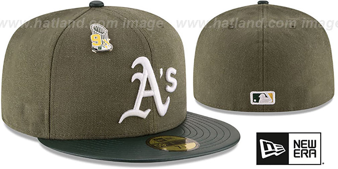 Athletics 9X 'HEATHER-PIN' Olive Fitted Hat by New Era : pictured without stickers that these products are shipped with