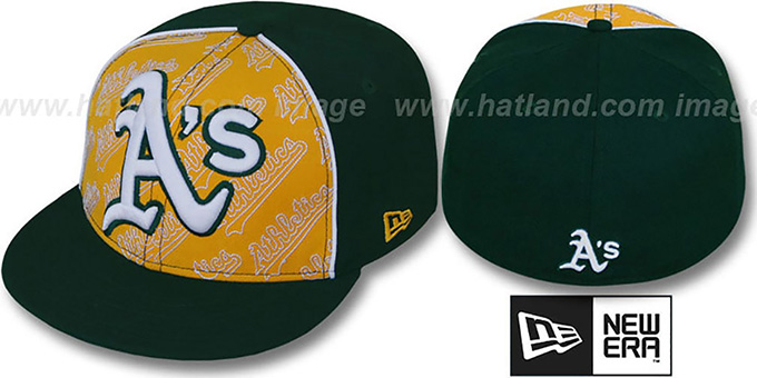 Athletics 'ANGLEBAR' Green-Gold Fitted Hat by New Era : pictured without stickers that these products are shipped with