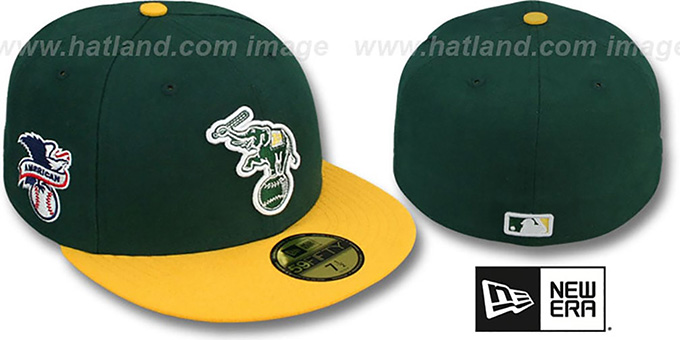 Athletics 'BAYCIK' ALT Green-Gold Fitted Hat by New Era : pictured without stickers that these products are shipped with
