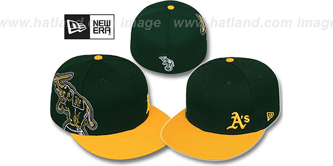 Athletics 'BIG-STITCH' Green-Gold Fitted Hat by New Era : pictured without stickers that these products are shipped with