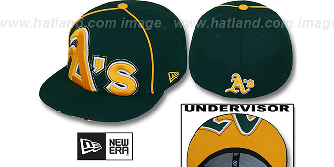 Athletics 'BIG-UNDER' Green Fitted Hat by New Era : pictured without stickers that these products are shipped with