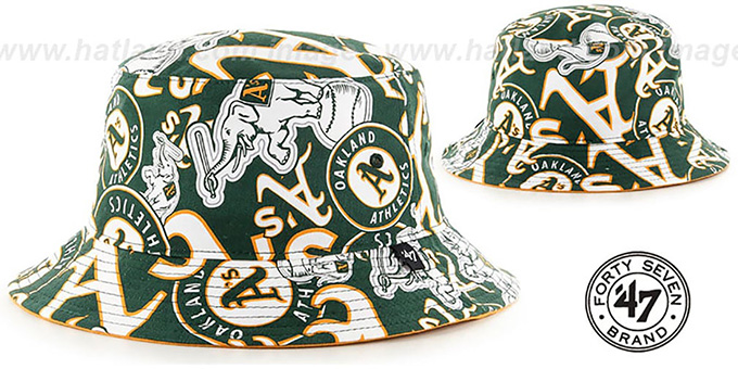 Athletics 'BRAVADO BUCKET' Hat by Twins 47 Brand : pictured without stickers that these products are shipped with