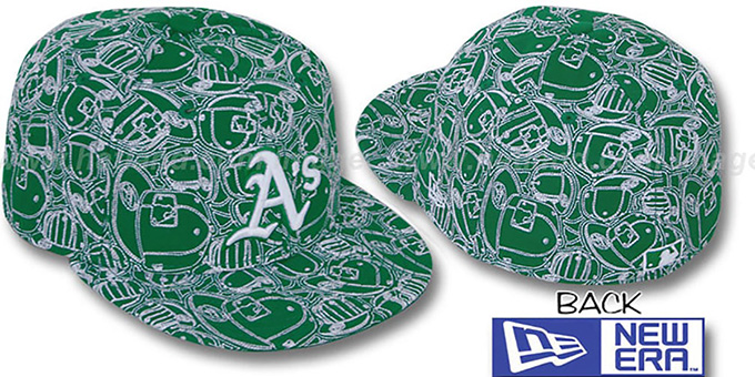 Athletics 'CHAOS PUFFY' Kelly-White Fitted Hat by New Era : pictured without stickers that these products are shipped with