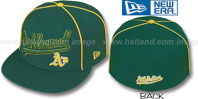 Athletics 'CITY-FLAWLESS' Green Fitted Hat by New Era : pictured without stickers that these products are shipped with