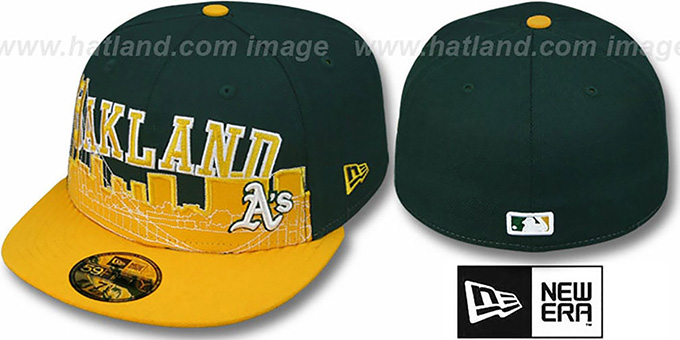 Athletics 'CITY-LINE' Green-Gold Fitted Hat by New Era : pictured without stickers that these products are shipped with