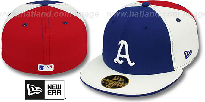 Athletics COOP 'PINWHEEL' Royal-White-Red Fitted Hat by New Era : pictured without stickers that these products are shipped with