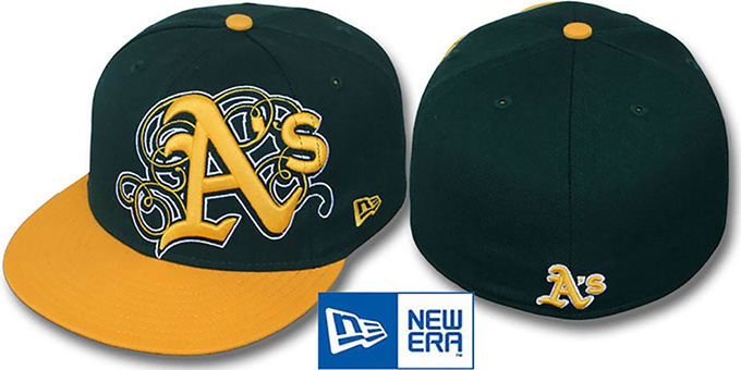 Athletics 'DUBCHA' Green-Gold Fitted Hat by New Era : pictured without stickers that these products are shipped with