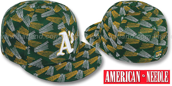 Athletics 'FLICKER' Green Fitted Hat by American Needle : pictured without stickers that these products are shipped with