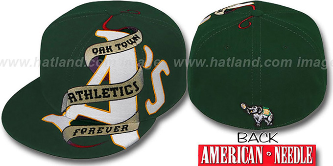 Athletics 'INKED' Green Fitted Hat by American Needle : pictured without stickers that these products are shipped with