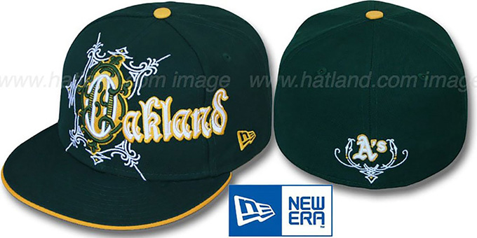 Athletics 'KELTIKUS' Green Fitted Hat by New Era : pictured without stickers that these products are shipped with