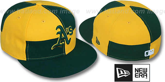 Athletics 'MIXER' Green-Gold Fitted Hat by New Era : pictured without stickers that these products are shipped with