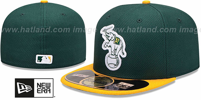 Athletics 'MLB DIAMOND ERA' 59FIFTY Green-Gold BP Hat by New Era : pictured without stickers that these products are shipped with