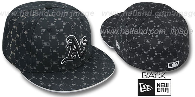 Athletics 'MLB FLOCKING' Black Fitted Hat by New Era : pictured without stickers that these products are shipped with