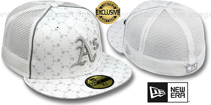 Athletics 'MLB FLOCKING' MESH-BACK White Fitted Hat by New Era : pictured without stickers that these products are shipped with