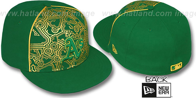 Athletics 'MLB-FOIL' Green-Gold Fitted Hat by New Era : pictured without stickers that these products are shipped with