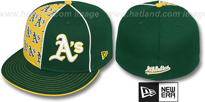 Athletics 'MULTIPLY' Green-Gold Fitted Hat by New Era : pictured without stickers that these products are shipped with