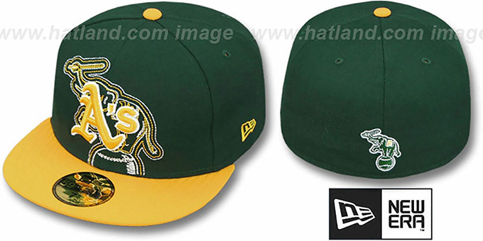Athletics 'NEW MIXIN' Green-Gold Fitted Hat by New Era : pictured without stickers that these products are shipped with