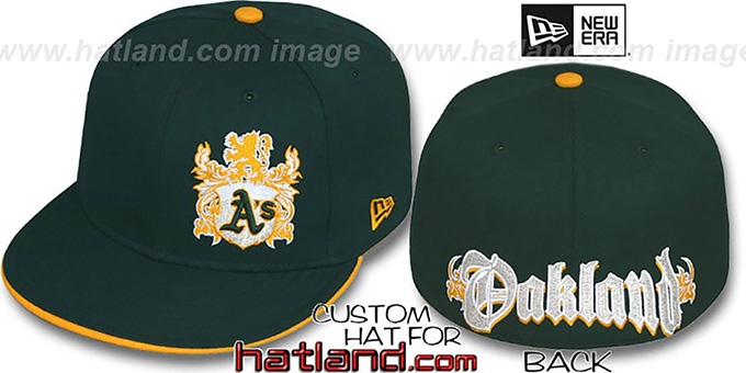 Athletics 'OLD ENGLISH SOUTHPAW' Green-Gold Fitted Hat by New Era : pictured without stickers that these products are shipped with