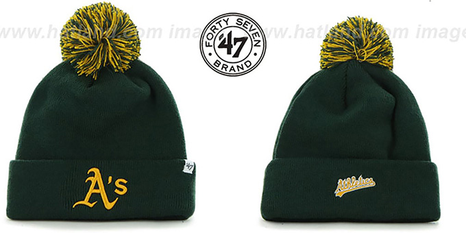 Athletics 'POMPOM CUFF' Green Knit Beanie Hat by Twins 47 Brand : pictured without stickers that these products are shipped with