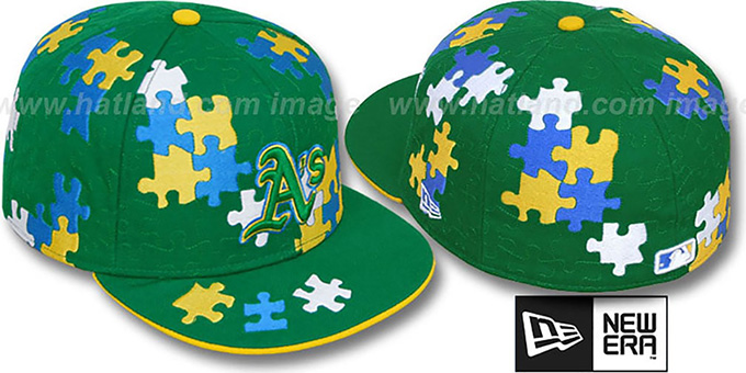Athletics 'PUZZLE' Green Fitted Hat by New Era : pictured without stickers that these products are shipped with