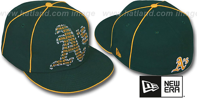 Athletics 'REPEAT BIG-ONE' Green Fitted Hat by New Era : pictured without stickers that these products are shipped with