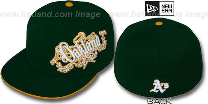 Athletics 'ROYALE OLD ENGLISH' Green Fitted Hat by New Era : pictured without stickers that these products are shipped with
