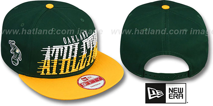 Athletics 'SAILTIP SNAPBACK' Green-Gold Hat by New Era : pictured without stickers that these products are shipped with