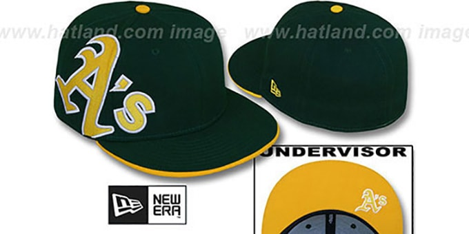 Athletics 'SIDEWINGER' Green Fitted Hat by New Era : pictured without stickers that these products are shipped with