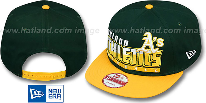 Athletics 'SLICE-N-DICE SNAPBACK' Green-Gold Hat by New Era : pictured without stickers that these products are shipped with