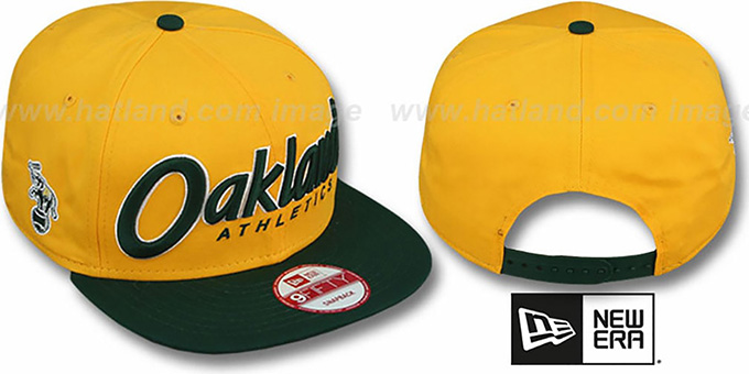 Athletics 'SNAP-IT-BACK SNAPBACK' Gold-Green Hat by New Era : pictured without stickers that these products are shipped with