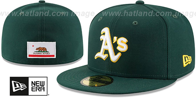 Athletics 'STATE STARE' Green Fitted Hat by New Era : pictured without stickers that these products are shipped with