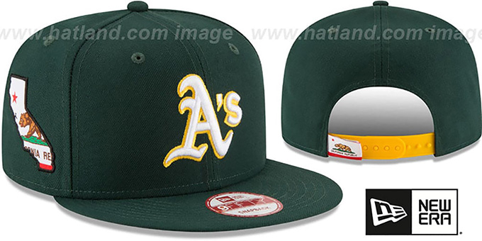 Athletics 'STATE STARE SNAPBACK' Green Hat by New Era : pictured without stickers that these products are shipped with