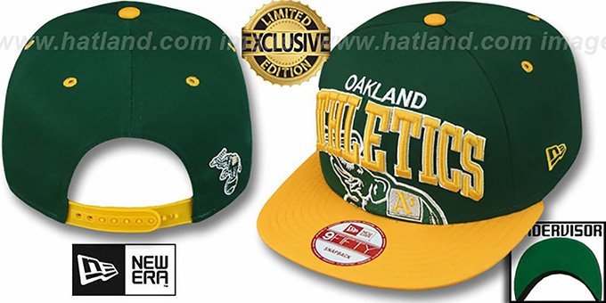 Athletics 'SUPER-LOGO ARCH SNAPBACK' Green-Gold Hat by New Era : pictured without stickers that these products are shipped with