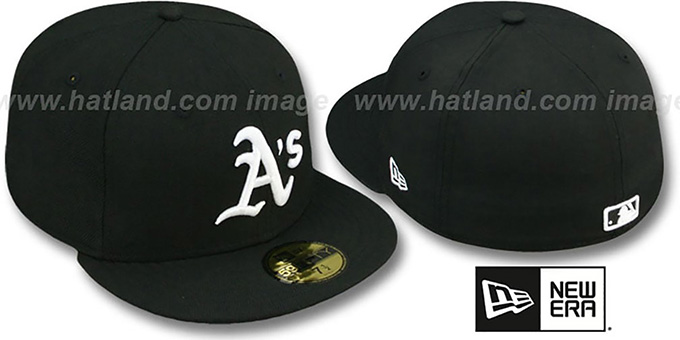 Athletics 'TEAM-BASIC' Black-White Fitted Hat by New Era : pictured without stickers that these products are shipped with