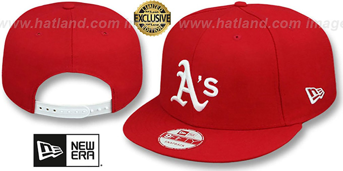 Athletics 'TEAM-BASIC SNAPBACK' Red-White Hat by New Era : pictured without stickers that these products are shipped with